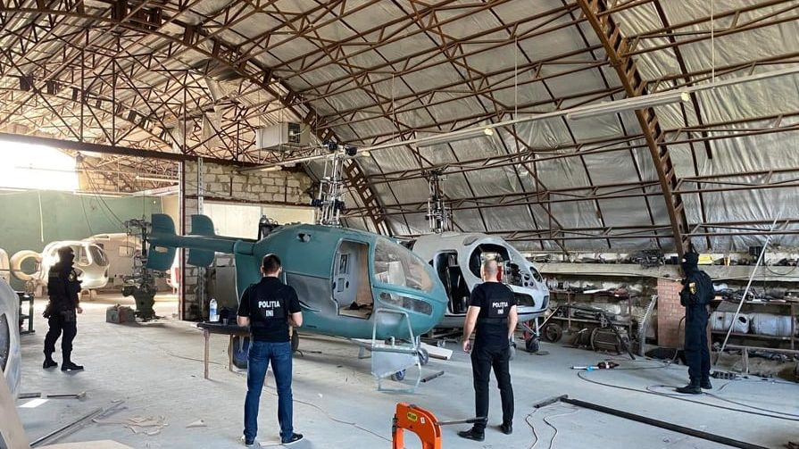 Moldovan officers raid the clandestine helicopter factory in the eastern Criuleni district. Photo: Moldovan Police/Facebook. The Moldovan Prosecuto